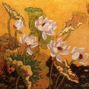 Lotus V - Vietnamese Lacquer Paintings Flower by Artist Tran Thieu Nam