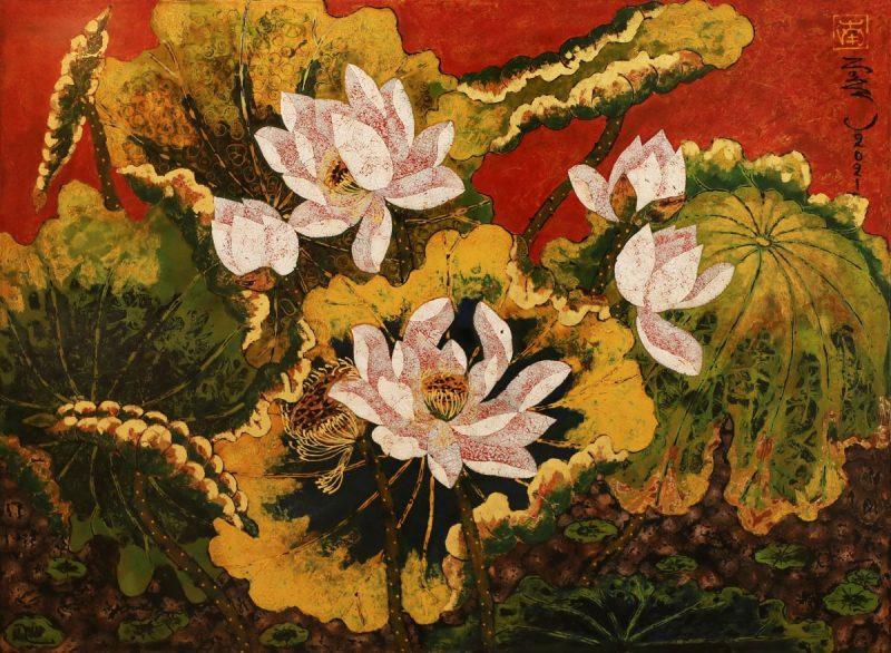Lotus XI - Vietnamese Lacquer Paintings Flower by Artist Tran Thieu Nam