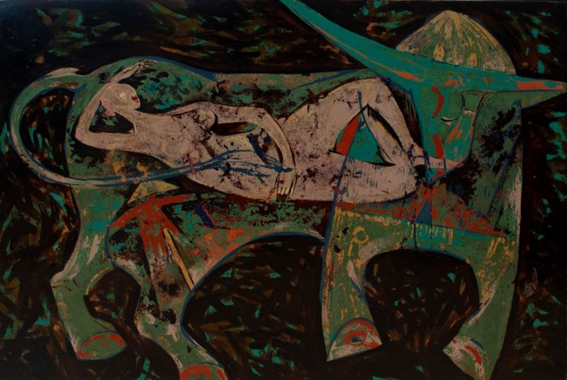 Memory - Vietnamese Lacquer Painting on Wood by Artist Trieu Khac Tien