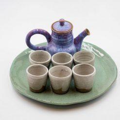 napoles blue art ceramic tea pot and cups