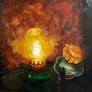 Oil Lamp - Vietnamese Oil Painting Still Life by Artist Giap Van Tuan