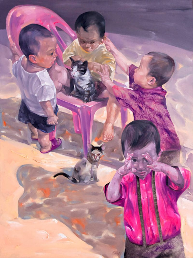 on the ground, oil on canvas, Vietnam Art Gallery