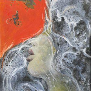 Orange Dream - Vietnamese Oil Painting by Artist Nguyen Tan Phat