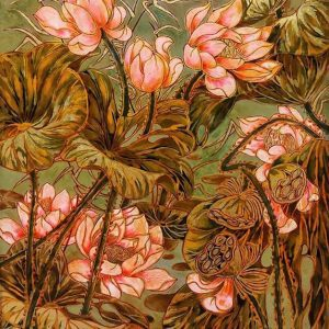 Pink Lotus I - Vietnamese Lacquer Painting by Artist Nguyen Hong Giang
