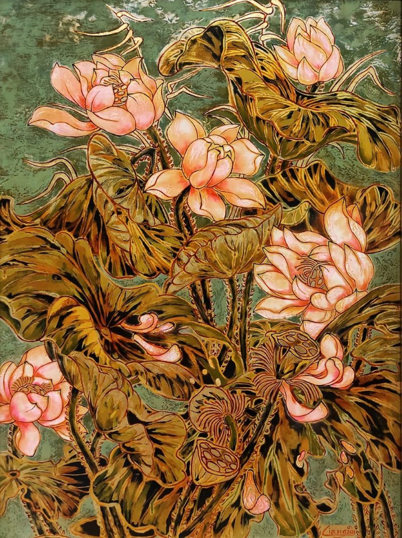Pink Lotus II - Vietnamese Lacquer Painting by Artist Nguyen Hong Giang