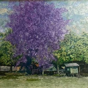 Poinciana in Purple - Vietnamese Lacquer Painting Landscape by artist Chu Viet Cuong