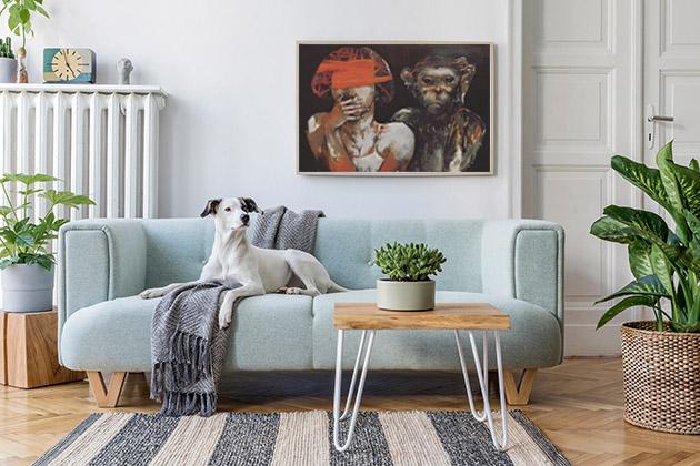 portrait paintings in living room
