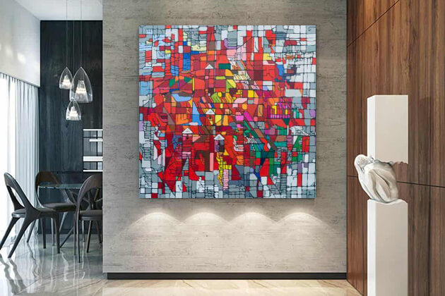 room with beautiful abstract paintings