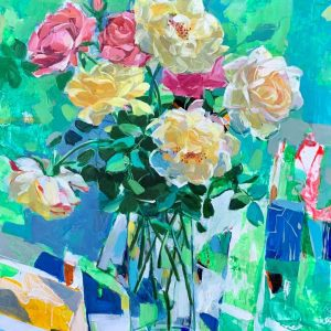 Still Life: Rose - Vietnamese Oil Painting by Artist Dinh Dong