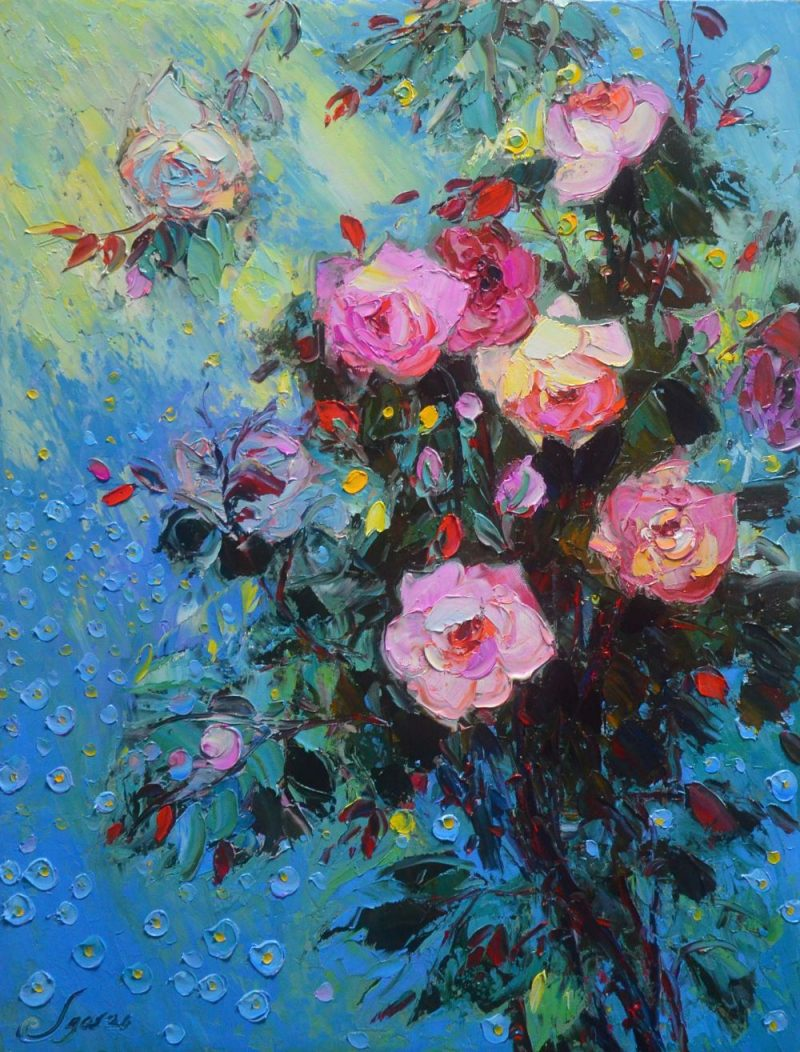 The Roses - Vietnamese Oil Painting Flower by Artist Dang Dinh Ngo