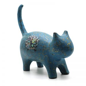 Turquoise Cat - Vietnamese Lacquer Artworks by Artist Nguyen Tan Phat