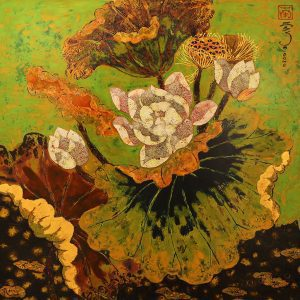 vietnamese lacquer paintings - Lotus IV