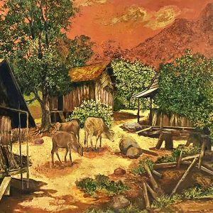 Village - Vietnamese Lacquer Paintings Landscape by Artist Chu Viet Cuong