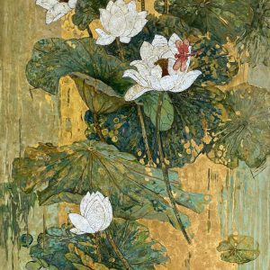 White Lotus 04 - Vietnamese Lacquer Paintings on Wood by Do Khai