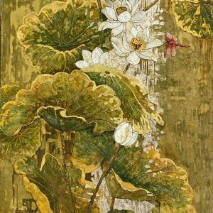 White Lotus 05 - Vietnamese Lacquer Paintings on Wood by Do Khai