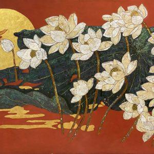 White Lotus 06 - Vietnamese Lacquer Paintings Flower by Artist Do Khai