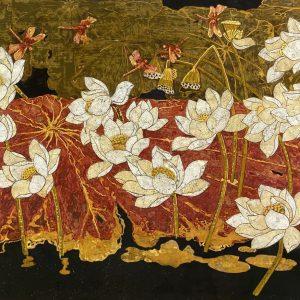 White Lotus 07 - Vietnamese Lacquer Paintings Flower by Artist Do Khai