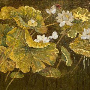 White Lotus 08 - Vietnamese Lacquer Paintings Flower by Artist Do Khai