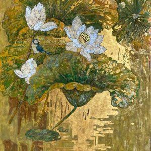 White Lotus 09 - Vietnamese Lacquer Paintings Flower by Artist Do Khai