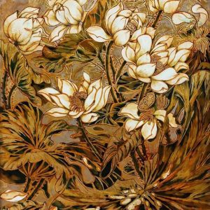 Early Lotus III - Vietnamese Lacquer Painting by Artist Nguyen Hong Giang