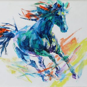 Wild Horse - Vietnamese Acrylic Paintings by Artist Mai Huy Dung