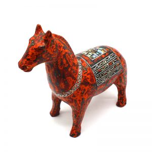 Red Horse III - Vietnamese Lacquer Artworks by Artist Nguyen Tan Phat