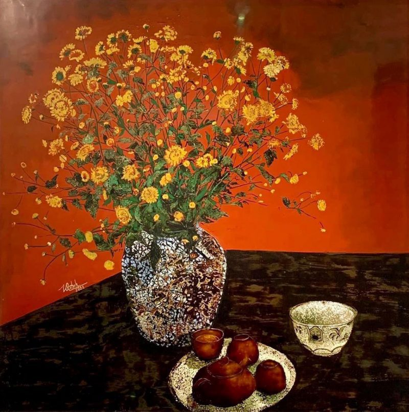 Yellow Daisy - Vietnamese Lacquer Painting Flower by Artist Trinh Que Anh
